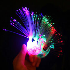 1pcs Peacock Light Up Finger Ring Laser LED Glow In Dark Stick Party Kids Toys