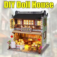 Wooden Dollhouse Furniture LED Light Kits Miniature Chinese Tea House DIY Model