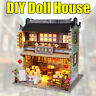 Wooden Dollhouse Furniture LED Light Kits Miniature Chinese Tea House DIY