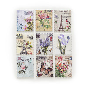 30pcs 2 Hole Postage Stamp Mixed Wood Buttons Sewing Scrapbooking Decor 38x30mm