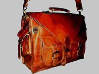 """18"""" Large Men Real Leather Vintage Brown Messenger Shoulder Laptop Bag Briefcase"""