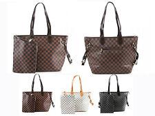 Ladies Women Designer Style 2in1 Tote Bag Checkerd Faux Leather Shoulder Handbag
