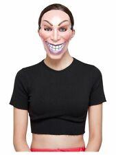 Smiler Maske Damen Halloween The Purge Erwachsene Gruseliges Kostüm Neu