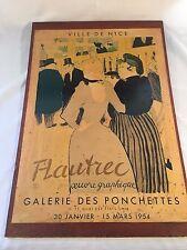 Vintage 1954 Ville De Nice Flautrec Galerie Des Ponchettes Mounted Poster