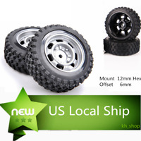 12mm Hex Off-Road Wheel Rim & Rubber Tires Front & Rear for RC 1/10 Car Buggy