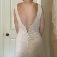 White Bodycon Dress - Open Back - Knee Length - Size Small- Brand New