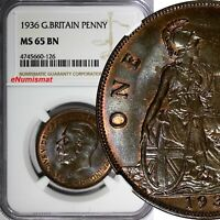 GREAT BRITAIN George V Bronze 1936 1 Penny NGC MS65 BN NICE TONING KM# 838