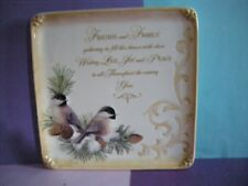 "Giftcraft Square Cermaic Plaque/Dish - Holiday Sentiment - ""Friends and Family"""