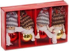BRUBAKER 4 Lutins Figurines en Bois & Crochet pour Sapin de Noël - Hauteur 8 cm