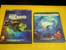 (2) Disney Pixar Finding Nemo Dory Blu-Ray/Dvd Lot: Both Movies!