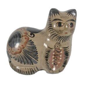 Vintage Tonala Mexican Pottery Cat Figurine Statue