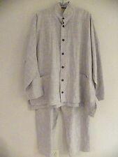 EUC Lagenlook Eskandar Tunic Elastic Waist Pants Gray Button Front Two Pockets