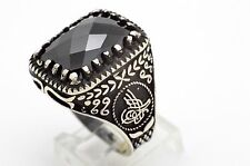13 GRAM 925 STERLING SILVER TURKISH OTTOMAN TUGHRA JEWELRY BLACK ONYX RING 11.25