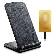 Ivolks Fast Wireless Charger Leather Cordless Cell Phone Rapid Charger With QI