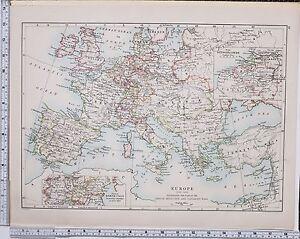 1889 LARGE ANTIQUE HISTORICAL MAP ~ EUROPE 1715-1815 FRENCH REVOLUTION NAPOLEON