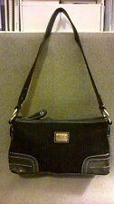SAK Black Shoulder Bag Silver Accents Silky Burgundy Lining Pockets Clean EUC