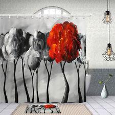 Shower Curtain Bathroom Decor Creative Flower Oil Painting Art Design Curtains