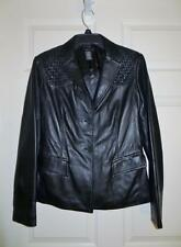 NWOT BCBG MAXAZRIA BLACK LEATHER BLAZER STYLE JACKET SIZE 4