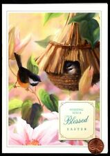Easter Chickadee Birds Nest Flowers - Religious - Easter Greeting Card - New