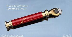 Handturned Red & Gold Trustone Gold Mach 3 Razor