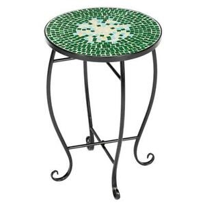 Patio Side Table Plant Stands Outdoor Accent Small Mosaic Glass Top,Green Flower