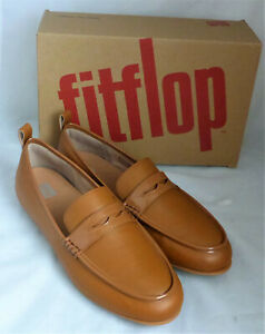 Fitflop Lena Penny Loafers Light Tan Brown Leather Ladies Slip On Flat Shoe Sz 9