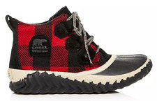 SOREL OUT N ABOUT BOOTS WOMEN'S ANKLE WATERPROOF SNOW RAIN BOOTIES RED PLAID