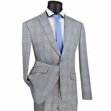 VINCI Men's Gray Glen Plaid 2 Button Slim Fit Suit w/ Stretch Armhole NEW