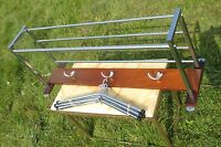 vintage mid Century Industrial Wood coat Hat rack Matching 5 Coat Hangers