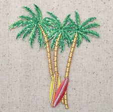 Iron-On Applique Embroidered Patch Tropical Beach Palm Trees Surf Boards