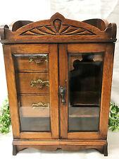 Beautiful Antique English Edwardian Art Nouveau Oak Smoker's Pipe Cabinet