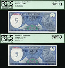 TT PK 125 1982 SURINAME CENTRALE BANK TWO NOTE SET PCGS 68 PPQ GEM NONE FINER