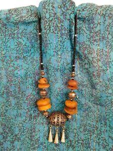 vintage LRG Moroccan Berber Tuareg amber' copal beads necklace huge enamel bead