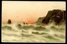 Rough Sea artist drawn M Morris Tuck 2548 Vintage u/b PPC