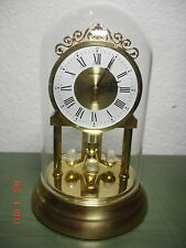 VINTAGE BUCHERER GLASS DOME CLOCK SIGNED WORKING CRYSTAL PENDALUM