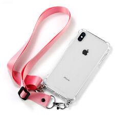 Handykette für iPhone X XS Transparente Halskette Hülle Case Rosa Schutzhülle