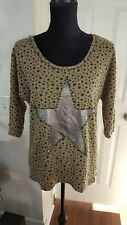 GLITZ & GLAM WOMEN'S BLOUSE TOP SWEATER WITH STUDS SIZE M BROWN