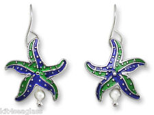Zarah Zarlite Little Starfish EARRINGS Sterling Silver Plated Dangle - Gift Box