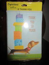 NEW 8 Dachshund Weiner Dog NotesBlank Thank you so Much! Cards HALLMARK