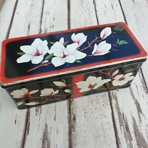 Vintage Biscuit Tin - Parkinsons Biscuits Ltd. Floral - Black White & Red