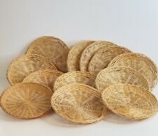 12 Vintage Paper Plate Holder Woven Wicker Rattan Wall Hanging Rustic Boho Décor