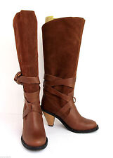 "REPORT TAN BROWN LEATHER SUEDE WOODEN 3"" HEEL TALL BELT SLOUCHY PULL BOOTS 6.5M"