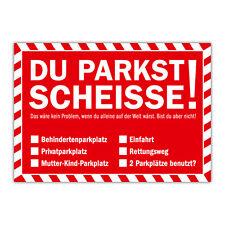 Du parkst Scheisse Notizblock mit 50 Blatt in Rot - Falschparker Gehweg Radweg