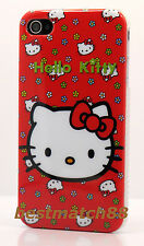 for iPhone 4 4s phone hello kitty hard back case red wit/ faces & flower film /