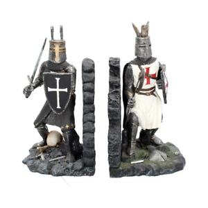 THE DUEL BOOKENDS Book Ends Knight Crusader Templar Figurine Nemesis FREE P+P