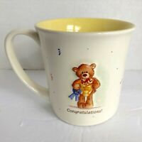 Vintage GUND Coffee Mug Cup 3D Congratulations Teddy Bear Blue Ribbon