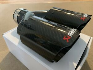 "UNIVERSAL DOUBLE 3.5"" AKRAPOVIC STYLE GLOSS CARBON BLACK EXHAUST TIPS"