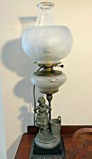 Antique Figural Art Nouveau Metal Woman Cut Glass Oil Lamp Converted to Electric