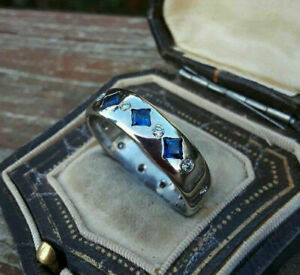 14k White Gold Modernist Men's Engagement Wedding Bezel Set Ring 2.34Ct Sapphire