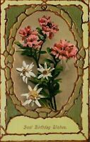 Pink White Flowers In Border Oval~Raised Stick Edges~Lime Green~Emb~GEL~Germany